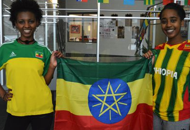e332eef8749 Bizuaye Hu and Salem Tessema are dressed for their Ethiopian culture.  (Photo courtesy of School News Network.)