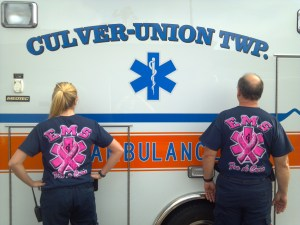 Culver EMT's Ron Cole and Kimberly Irsa model the new uniform shirts.