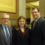 Senator Arnold (D-LaPorte), Jessica-Lena Bohlin and Rep. Dermody (R-LaPorte) at the Statehouse.