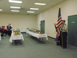 Members of the Knox VFW Post #748 presented the nation's colors for the breakfast