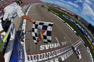 Via Getty Images Brad Keselowski, driver of the #2 Miller Lite Ford, crosses the finish line to win the NASCAR Sprint Cup Series Kobalt 400 at Las Vegas Motor Speedway on March 9, 2014 in Las Vegas, Nevada. Photo by Getty Images