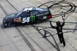 Kyle Busch, driver of the #54 Monster Energy Toyota, celebrates with the checkered flag after winning the NASCAR Nationwide Series Buckle Up 200 Presented By Click It Or Ticket at Dover International Speedway on May 31, 2014 in Dover, Delaware. Kyle Busch, driver of the #54 Monster Energy Toyota, celebrates with the checkered flag after winning the NASCAR Nationwide Series Buckle Up 200 Presented By Click It Or Ticket at Dover International Speedway on May 31, 2014 in Dover, Delaware.Kyle Busch, driver of the #54 Monster Energy Toyota, celebrates with the checkered flag after winning the NASCAR Nationwide Series Buckle Up 200 Presented By Click It Or Ticket at Dover International Speedway on May 31, 2014 in Dover, Delaware.Kyle Busch, driver of the #54 Monster Energy Toyota, celebrates with the checkered flag after winning the NASCAR Nationwide Series Buckle Up 200 Presented By Click It Or Ticket at Dover International Speedway on May 31, 2014 in Dover, Delaware. Photo by Sean Gardner/NASCAR via Getty Images