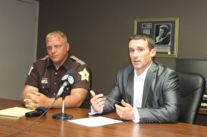 Starke County Sheriff's Deputy Bill Dulin and Prosecutor Nick Bourff speak to the media about the June 6, 2014 carjacking and ensuing pursuit.
