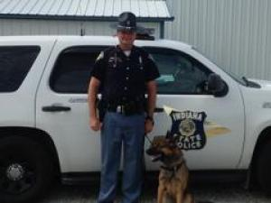 Indiana State Police Master Trooper Steve Caylor and his K-9 partner, Nikan