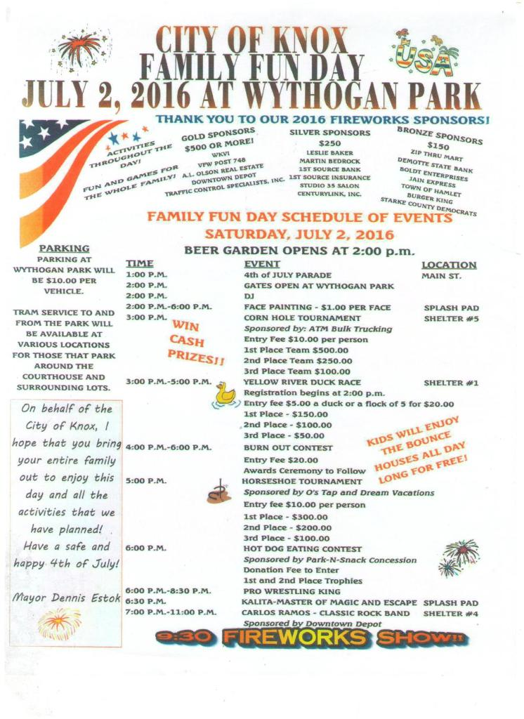 Knox Fun Day in the Park Schedule