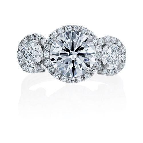 3 STONE HALO BRILLIANT DIAMOND RING