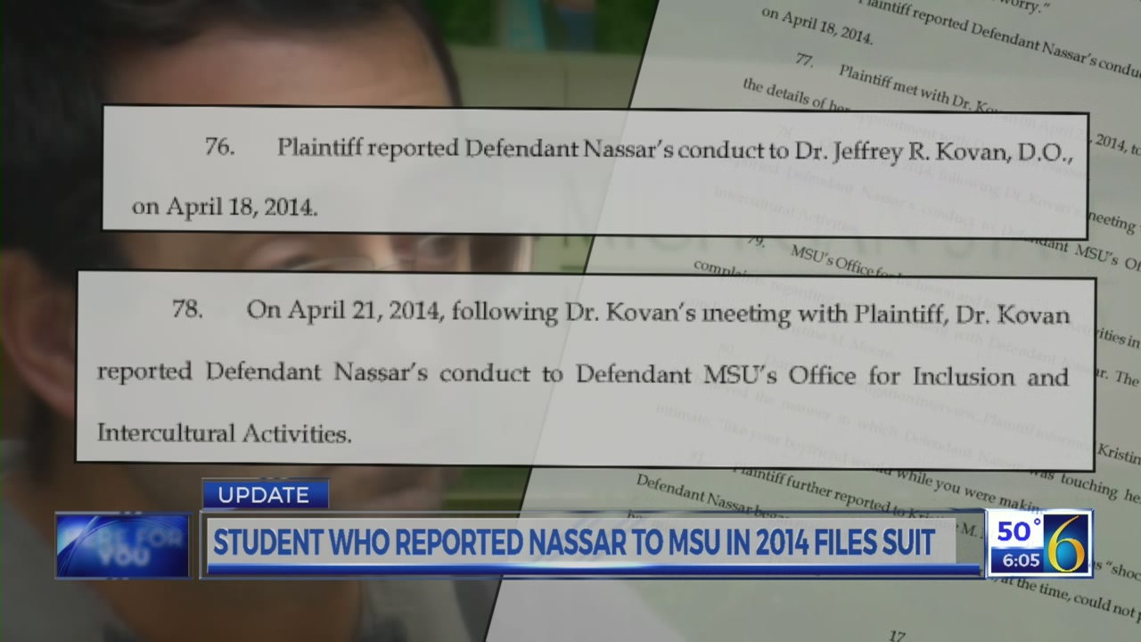 Student who reported Nassar files suit