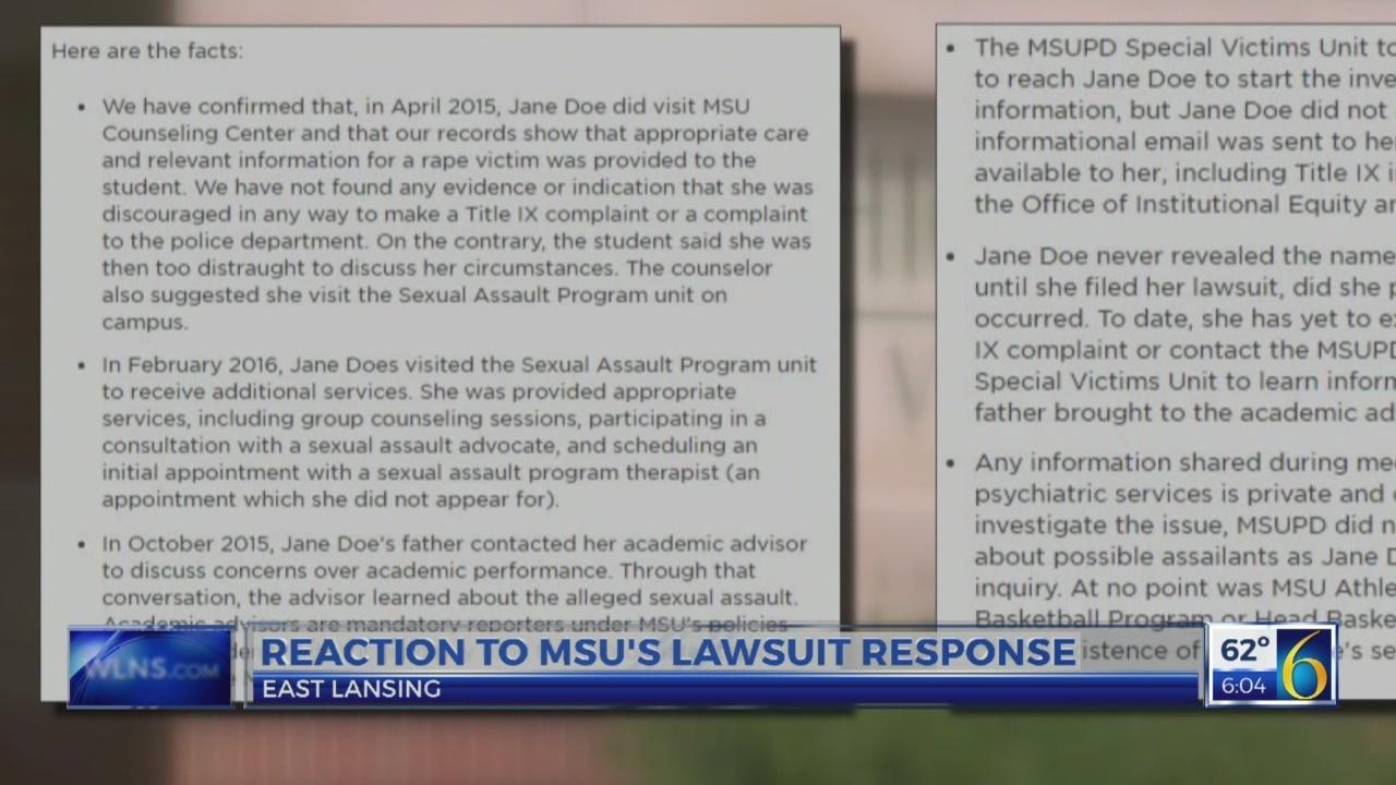 MSU's public response