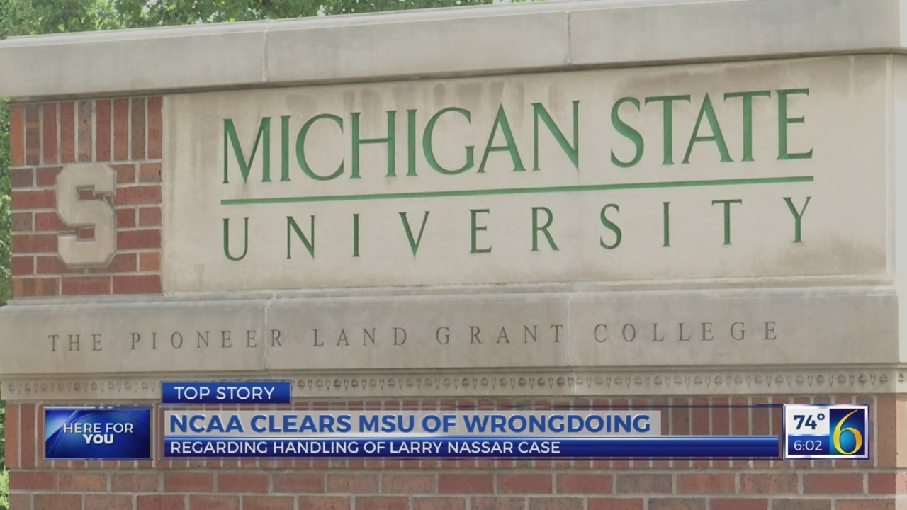 NCAA clears MSU of wrongdoing in Nassar case