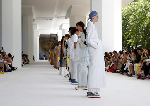 990318e6c ... of the Sunnei men's Spring-Summer 2020 collection, unveiled during the  fashion week in Milan, Italy, Sunday, June 16, 2019. (AP Photo/Antonio  Calanni)