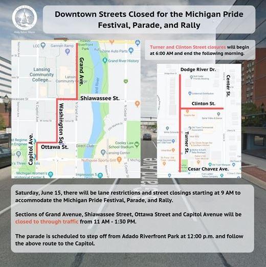 Lansing street closings set for weekend Michigan Pride Festival