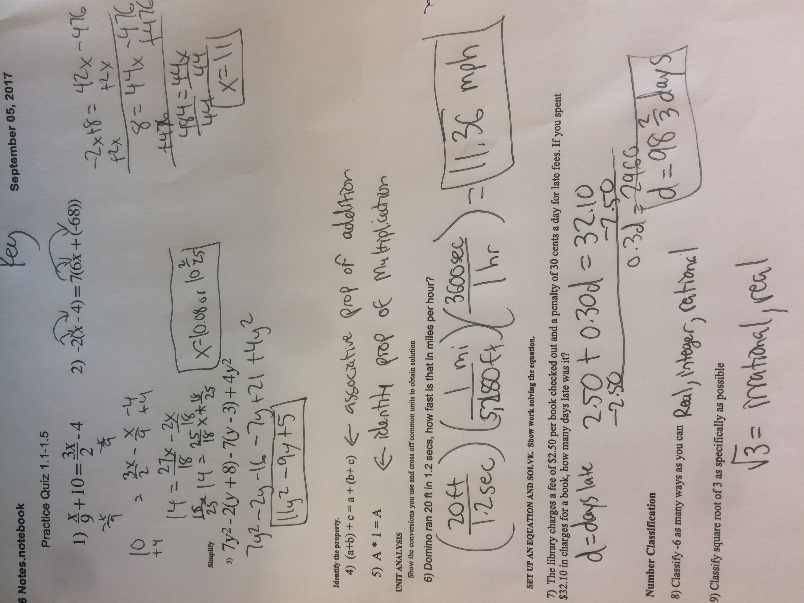Unit 4 Linear Equations Quiz 1 Answer Key