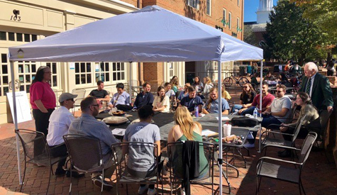 Students participate in a Rocket Pitch competition that was held on the patio at Tribe Square. (Photo by Sean Hughes)