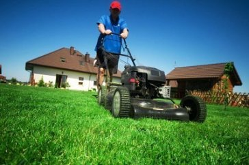 Image result for man mowing lawn