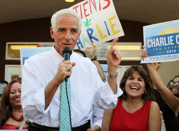 Charlie Crist campaigning for governor in Orlando in 2014, with running mate Annette Tadeo. Crist says he won't seek political office in 2016. Photo: Brendan Byrne, WMFE