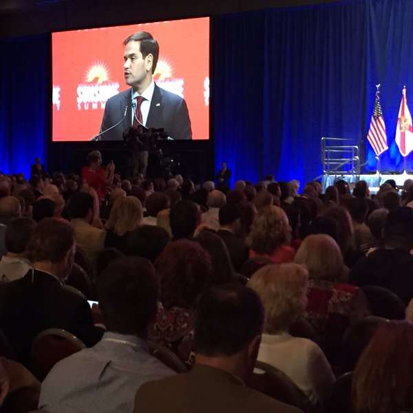 Marco Rubio talks at the Republican Party of Florida's Sunshine Summit in Orlando. Photo: Renata Sago, WMFE