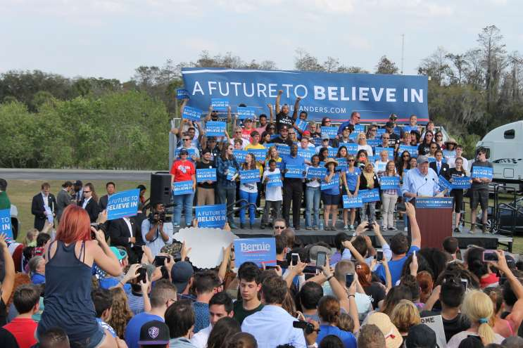 Kissimmee was Feelin' The Bern on Thursday. Sanders urged his supporters to get out and vote in Florida's primary next Tuesday. Photo: Matthew Peddie, WMFE