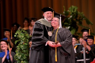 Photo of WMU President John M. Dunn at commencement.