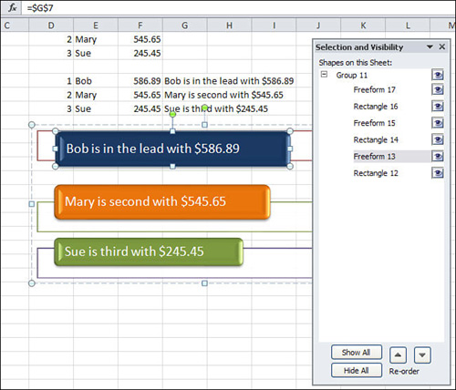 Microsoft Excel 2010 : Linking a Cell to Smart Art