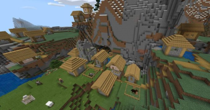 Mountain Village w/Monster Spawner (Bedrock - 1.14+)