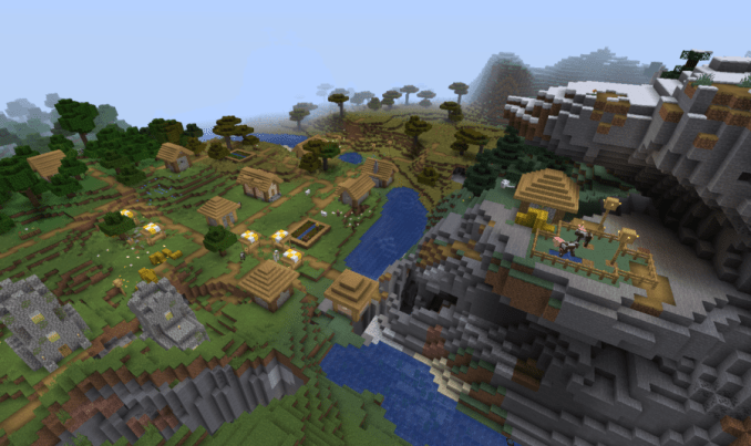 3 Villagers close to each other surrounded by 10 Biomes at Spawn