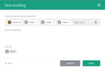 If the players don't have a Hello Club account, simply add the corresponding number of visitors to your booking, and fill in their names on the next screen when prompted.
