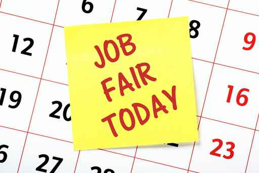 Job Fair Today reminder note on a calendar page_510604