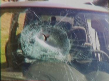 Pipe Goes Through Windshield On I-40