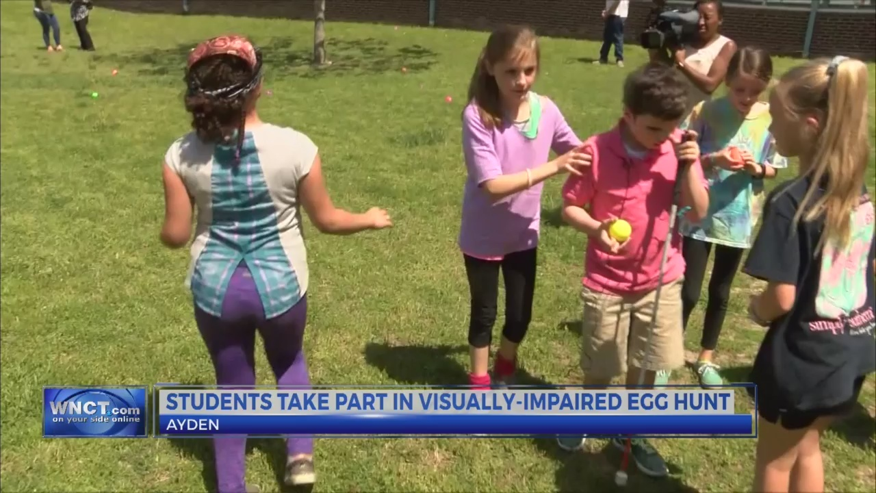 Students take part in visually-impaired egg hunt