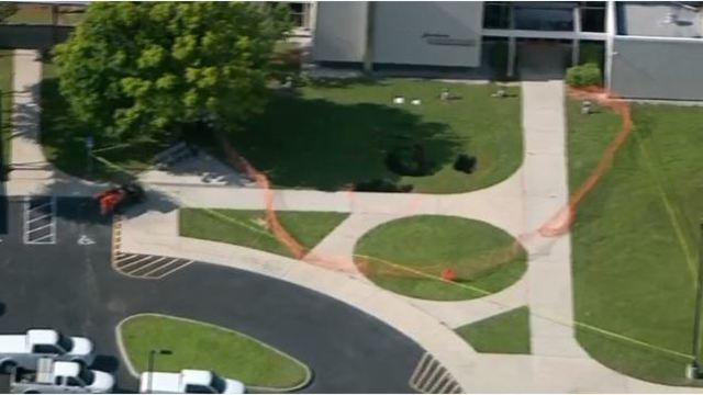 Sinkhole at Tarpon Springs, FL High School
