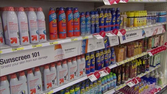 Sunscreen on Shelf at Store