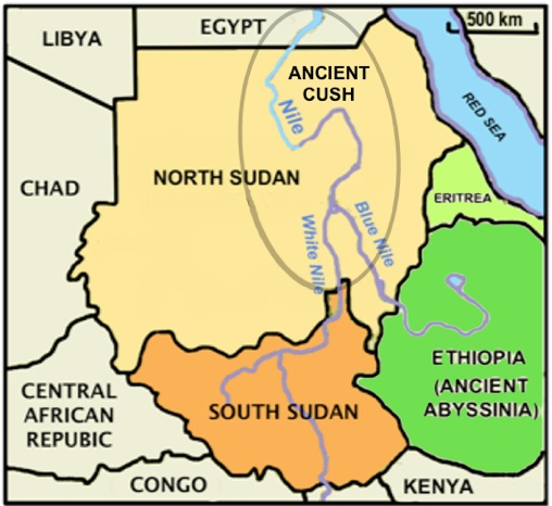 """Modern Day North Sudan, South Sudan, Ethiopia and surrounding nations. The grey oval around the three Nile rivers represents ancient Cush, which most Bibles translate as """"Ethiopia."""" The Green nations of Ethiopia and Eritrea were called Abyssinia in ancient times and do not correlate to the biblical Cush."""