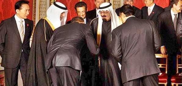 President Obama appears to bow to Saudi King Abdullah, on April 1, 2009, in London