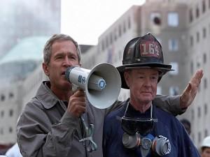 President Bush at ground zero in New York on Sept. 14, 2001