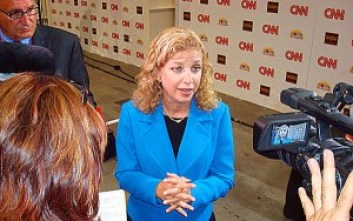 DNC Chairwoman Debbie Wasserman Schultz in the spin room of the 2012 CNN/Tea Party Debate in Tampa, Florida. (WND photo / Joe Kovacs)