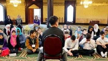 School children visit a mosque