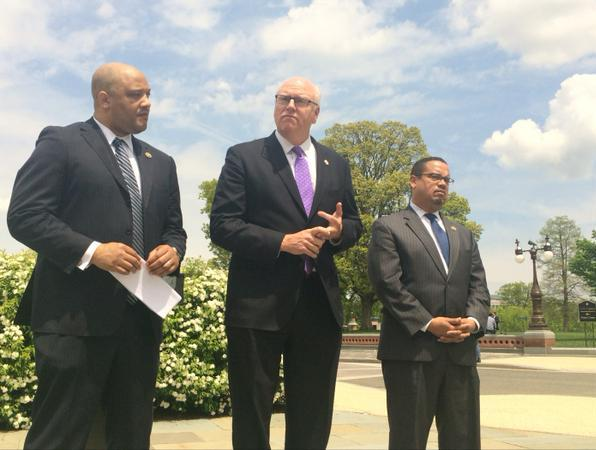 Reps. Andre Carson, D-Ind., Joe Crowley, D-N.Y., and Keith Ellison, D-Minn., in Washington, D.C., protesting Geert Wilders visit to the U.S. (Twitter @RepAndreCarson)