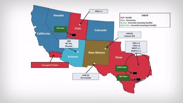 Jade Helm map showing Texas, Utah and part of California as