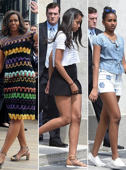First lady Michelle Obama and daughters, Sasha and Malia, on global tour