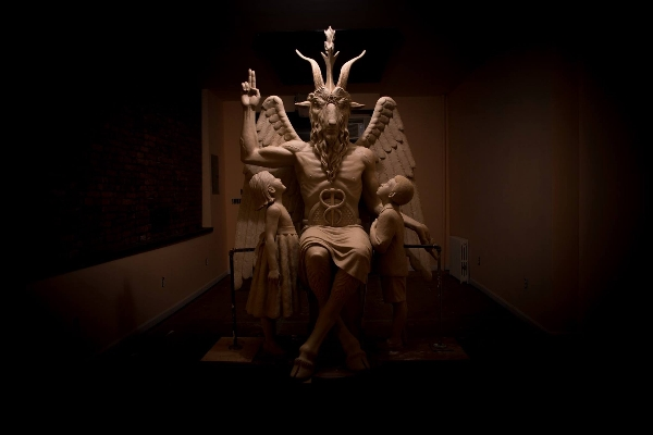 The winged and goat-head Baphomet was unveiled in Detroit Saturday night.