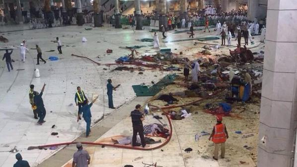 Bedlam breaks out at world's largest mosque, the Grand Mosque in Mecca, after a crane collapsed onto the main worship area.