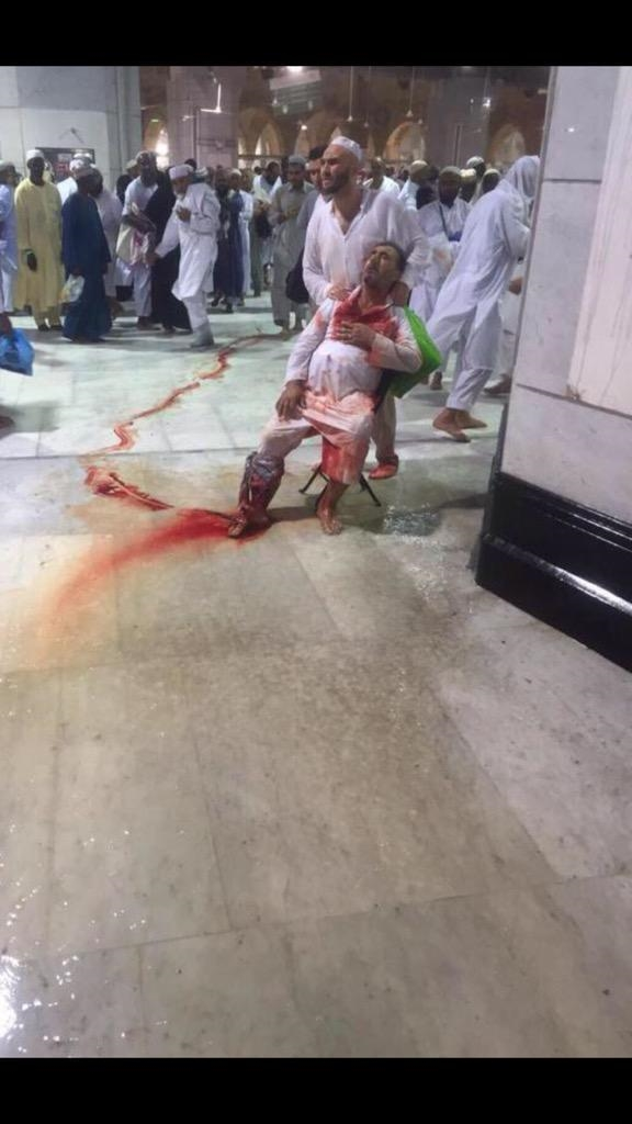 Scene from the Grand Mosque in Mecca, Saudi Arabia, after a crane collapsed on the mosque, killing 107 people and injuring more than 200 others.