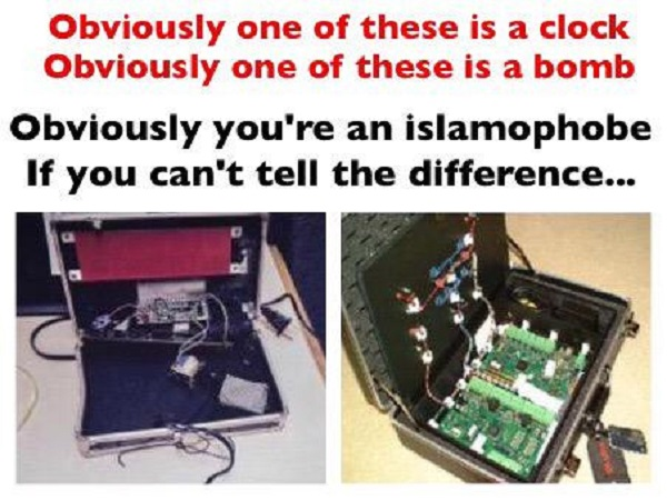 "Illustration from Robert Spencer of Jihad Watch showing Mohamed's ""clock,"" and a real bomb"