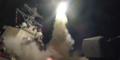 Tomahawk missile fired at a Syrian air base from the USS Porter April 6, 2017