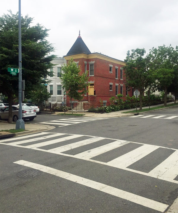 Intersection where DNC staffer Seth Rich was found 'conscious and breathing with apparent gunshot wound(s) to the back,' according to a July 10, 2016, police report (WND photo: Alicia Powe)