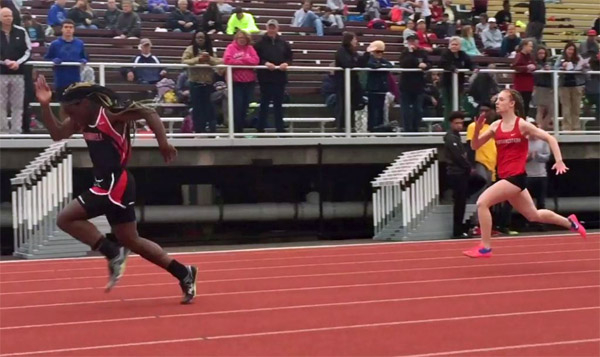 Transgender sprinter Andraya Yearwood obliterates his female competition in a Class M preliminary race