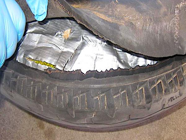 Marijuana found smuggled inside of a spare tire.