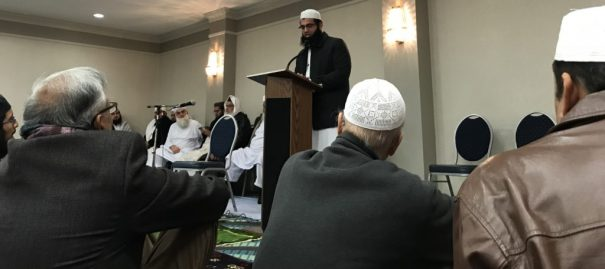 Keynote speaker addresses Islamist fundraising conference in Springfield, Virginia, Saturday, Nov. 18, 2017.