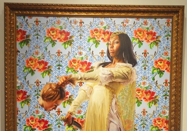 """Screenshot of 2013 painting by Kehinde Wiley known as """"Judith Beheading Holofernes"""" from the collection """"A New Republic."""""""