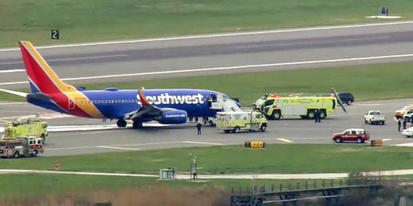 Southwest Airlines flight makes emergency landing in Philadelphia on April 17 (Photo: Screenshot)